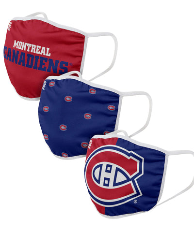 MONTREAL CANADIENS ADULT FACE MASKS - 3 PACK