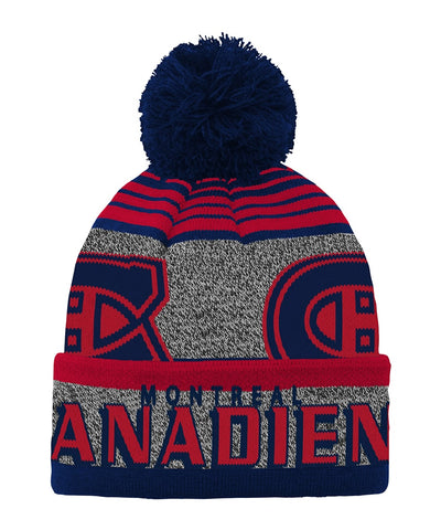 MONTREAL CANADIENS KID'S ALLOVER JACQUARD CUFF POM BEANIE