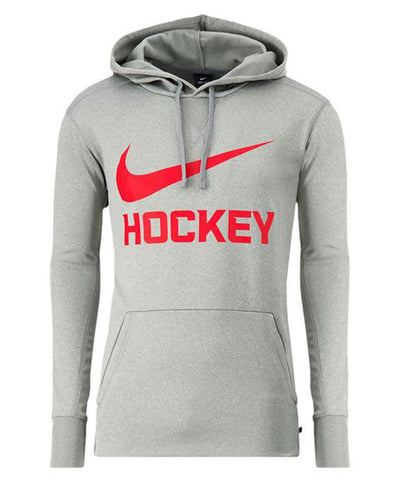 NIKE MEN'S THERMA PO HOCKEY HOODIE - GREY