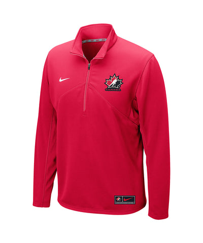 NIKE TEAM CANADA DRI-FIT TRAINING 1/4 ZIP - RED