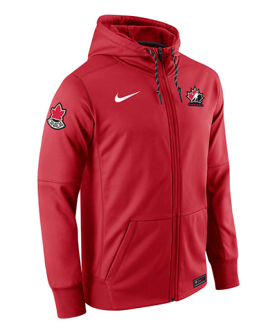NIKE TEAM CANADA MEN'S THERMA FULL ZIP HOODIE - RED