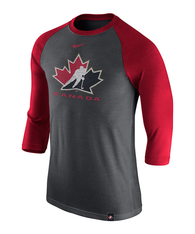 NIKE TEAM CANADA MEN'S TRI-BLEND 3/4 RAGLAN T SHIRT - BLACK/RED