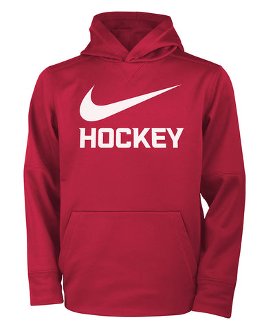 NIKE THERMA PO HOCKEY KID'S HOODIE - RED