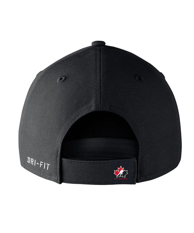NIKE TEAM CANADA SR DRI FIT WOOL ADJUSTABLE CAP - BLACK