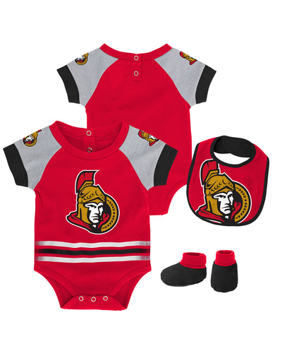 OTTAWA SENATORS INFANT BLOCKER CREEPER, BIB BOOTIE SET
