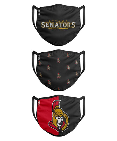OTTAWA SENATORS KIDS  FACE MASKS - 3 PACK
