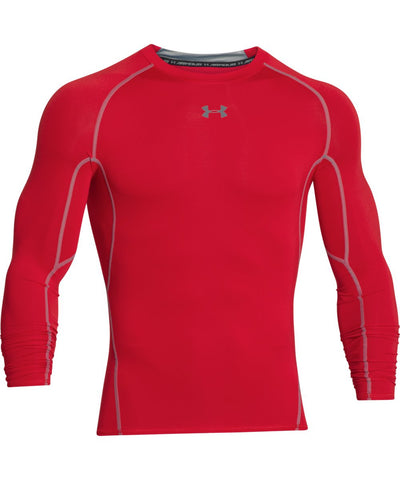 UNDER ARMOUR HEATGEAR ARMOUR MEN'S LONG SLEEVE SHIRT RED