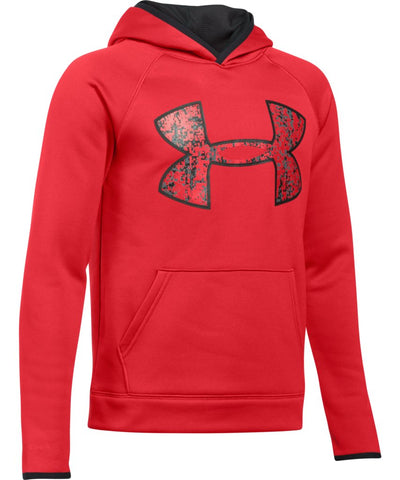 UNDER ARMOUR JR AF BIG LOGO HOODY RED