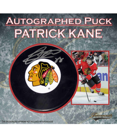 PATRICK KANE CHICAGO BLACKHAWKS FRAMEWORTH AUTHENTIC SIGNED HOCKEY PUCK