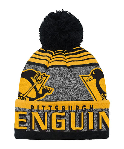 PITTSBURGH PENGUINS KID'S ALLOVER JACQUARD CUFF POM BEANIE