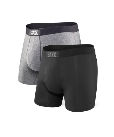 SAXX MEN'S ULTRA BOXERS - BLACK/GREY 2 PACK