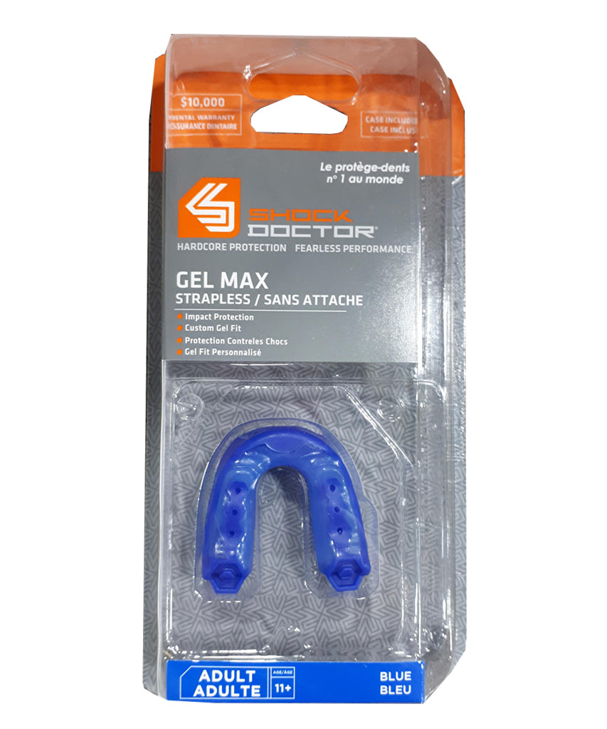 SHOCK DOCTOR GEL MAX ADULT STRAPLESS MOUTHGUARD - BLUE – Pro Hockey Life 4392fca716b2