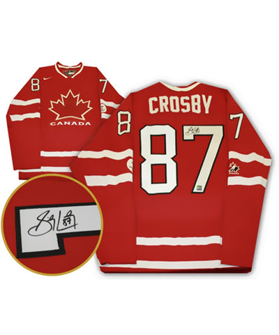 SIDNEY CROSBY TEAM CANADA FRAMEWORTH AUTHENTIC SIGNED 2010 OLYMPICS JERSEY