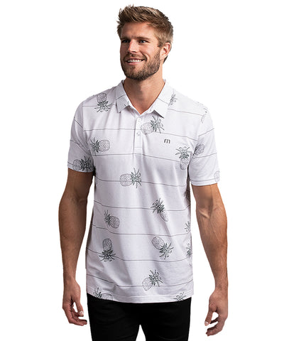 TRAVISMATHEW MEN'S STACKED DECK POLO - WHITE