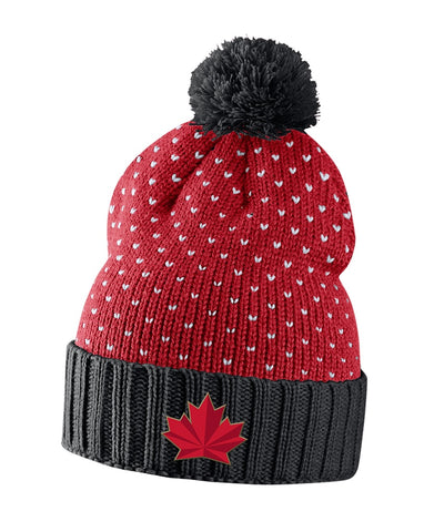 NIKE TEAM CANADA 2018 OLYMPICS WOMEN'S POM BEANIE - RED