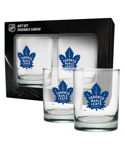TORONTO MAPLE LEAFS 2 PACK ROCK GLASS - ETCHED