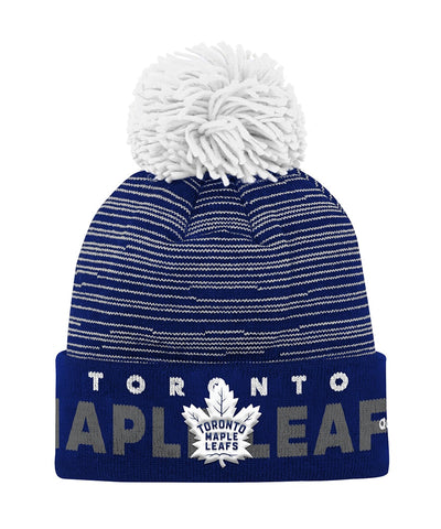 TORONTO MAPLE LEAFS ADIDAS JR CUFFED POM KNIT BEANIE