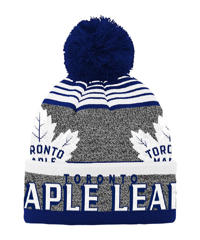 TORONTO MAPLE LEAFS KID'S ALLOVER JACQUARD CUFF POM BEANIE