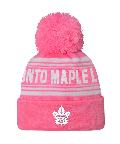 TORONTO MAPLE LEAFS GIRL'S PINK CUFFED KNIT POM TOQUE
