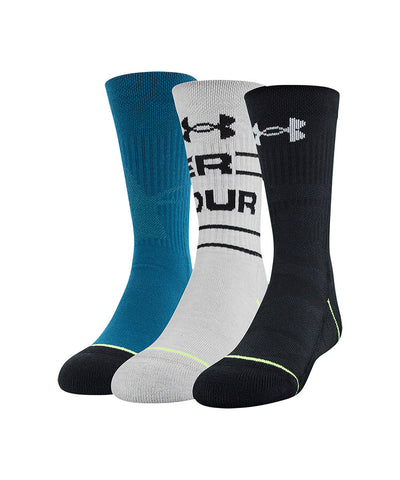 UNDER ARMOUR BOY'S PHENOM CREW SOCK 3 PACK - BLACK