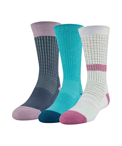 UNDER ARMOUR GIRL'S PHENOM CREW SOCK 3 PACK - WHITE