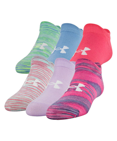 UNDER ARMOUR GIRL'S PHENOM NO SHOW 6 PACK - PINK