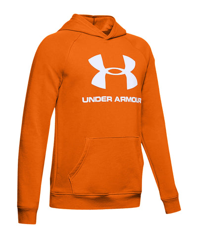 UNDER ARMOUR KID'S RIVAL LOGO HOODIE - ORANGE