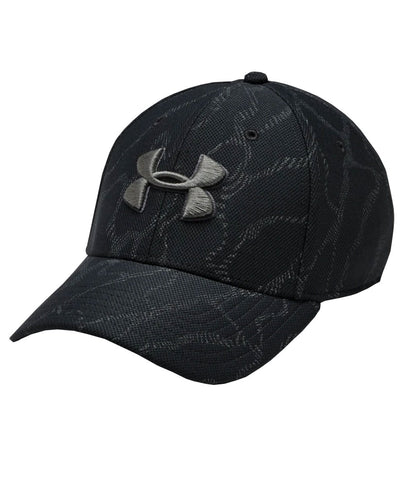 UNDER ARMOUR MEN'S PRINTED BLITZING 3.0 HAT - BLACK/BLACK