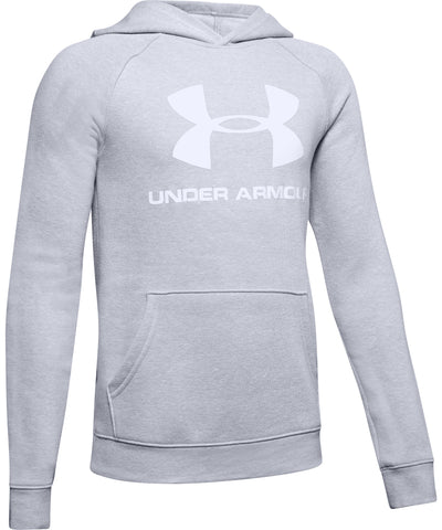 UNDER ARMOUR KID'S RIVAL LOGO HOODIE - GREY