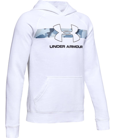 UNDER ARMOUR RIVAL KID'S HOODIE - WHITE