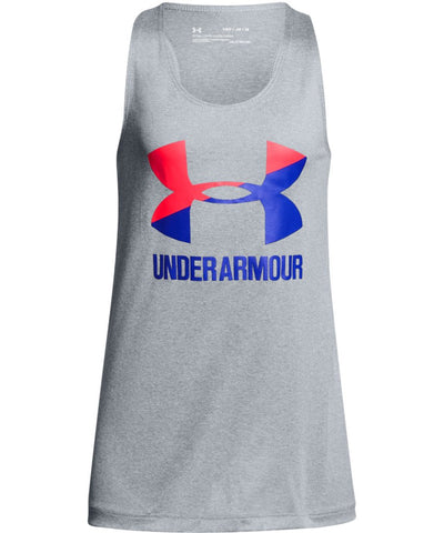 UNDER ARMOUR KID'S BIG LOGO SLASH TANK - GREY