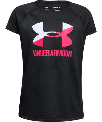 UNDER ARMOUR GIRL'S SOLID BIG LOGO T SHIRT - BLACK