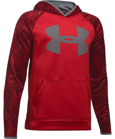 UNDER ARMOUR KID'S AF BIG LOGO PRINTED HOODIE - RED