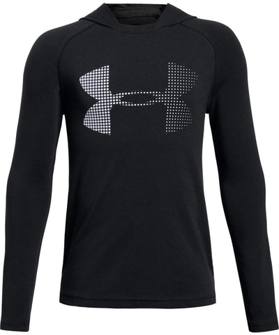 UNDER ARMOUR KID'S COTTON KNIT HOODIE - BLACK
