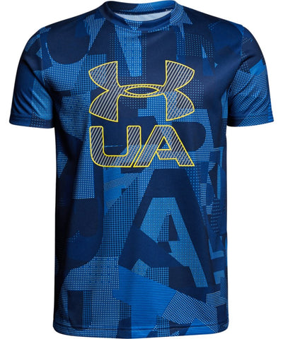 UNDER ARMOUR KID'S PRINTED CROSSFADE T SHIRT - BLUE