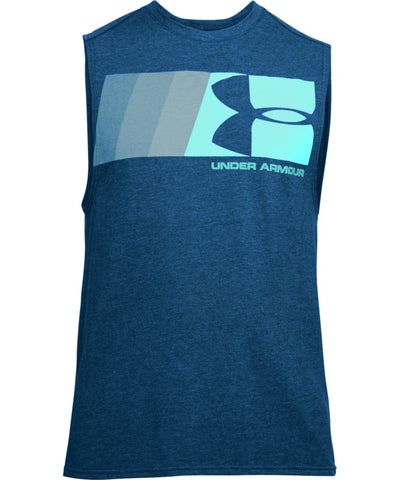 UNDER ARMOUR MEN'S GRAPHIC MUSCLE TANK - BLUE