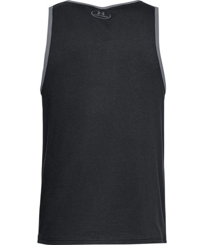 UNDER ARMOUR MEN'S STACKED LEFT CHEST TANK - BLACK