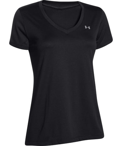 UNDER ARMOUR TECH V-NECK WOMEN'S T SHIRT - BLACK