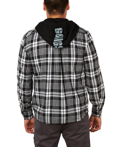 GONGSHOW MEN'S PLAID FOR THE LAD HOODIE - BLACK/WHITE