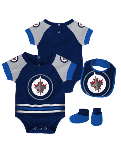 WINNIPEG JETS INFANT BLOCKER CREEPER, BIB BOOTIE SET