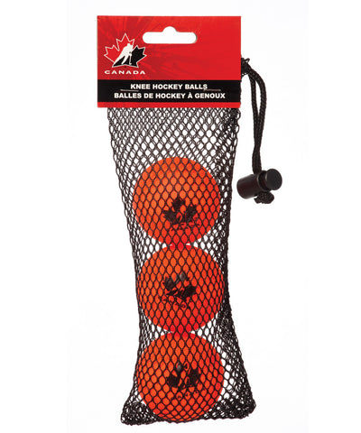 HOCKEY CANADA ORANGE KNEE HOCKEY BALL 3PK