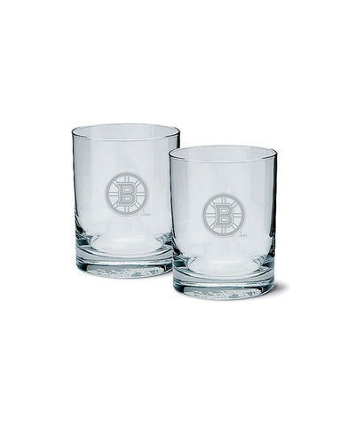 BOSTON BRUINS ETCHED ROCK GLASS 2 PACK