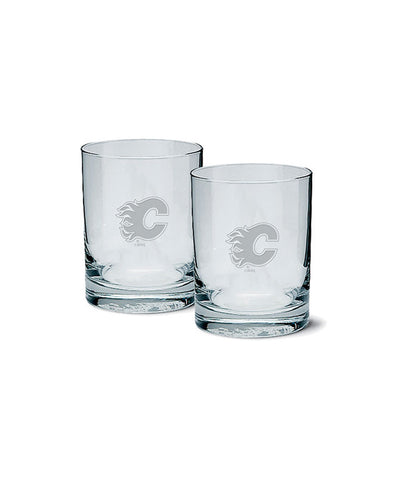 CALGARY FLAMES ETCHED ROCK GLASS 2 PACK