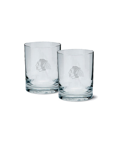 CHICAGO BLACKHAWKS ETCHED ROCK GLASS 2 PACK