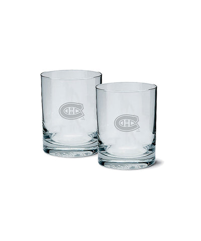 MONTREAL CANADIENS ETCHED ROCK GLASS 2 PACK