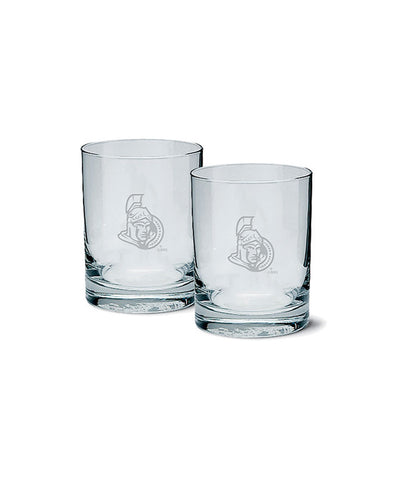OTTAWA SENATORS ETCHED ROCK GLASS 2 PACK