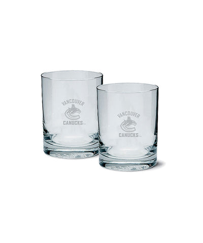 VANCOUVER CANUCKS ETCHED ROCK GLASS 2 PACK