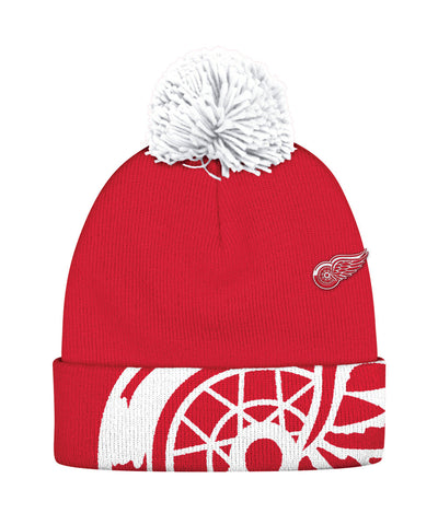 REEBOK DETROIT RED WINGS OVERSIZE LOGO CUFFED POM SR TOQUE