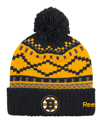 REEBOK BOSTON BRUINS JACQUARD CUFFED POM KNIT SR TOQUE