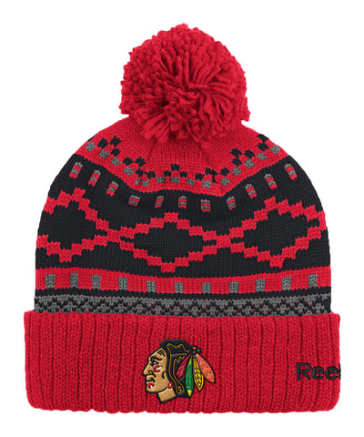 REEBOK CHICAGO BLACKHAWKS JACQUARD CUFFED POM KNIT SR TOQUE